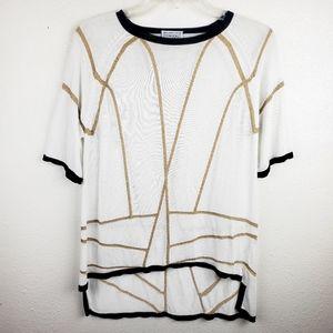 CYNTHIA ROWLEY High-Low Gold Stripe White Tunic